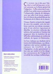Mesure et integration ; integrale de Lebesgue ; exercices avec solutions - 4ème de couverture - Format classique