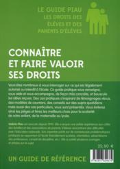 Le guide Piau ; les droits des parents d'élèves et des élèves - 4ème de couverture - Format classique