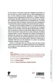 Inégalités mondiales ; le destin des classes moyennes, les ultra-riches et l'égalité des chances - 4ème de couverture - Format classique