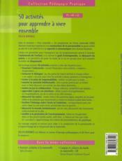 50 activités pour apprendre à vivre ensemble - 4ème de couverture - Format classique