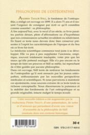 Philosophie de l'ostéopathie - 4ème de couverture - Format classique