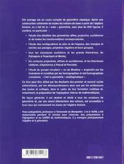 Geometrie Affine Projective Euclidienne Et Anallagmatique Licence Capes Agregation - 4ème de couverture - Format classique