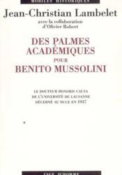Des Palmes Academiques Pour B. Mussolini - Couverture - Format classique