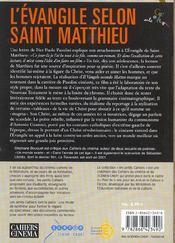 L'évangile selon Saint Matthieu - 4ème de couverture - Format classique