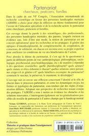 Partenariat Chercheurs Praticiens Familles- De La Recherche D'Un Partenariat A Un Partenariat Rec - 4ème de couverture - Format classique