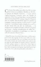Lettres D'Un Soldat. Aout 1914-Avril 1915 - 4ème de couverture - Format classique