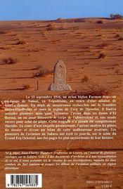 Mission aerienne au sahara en 1916 - contribution a l'histoire du sahara tunisien - 4ème de couverture - Format classique