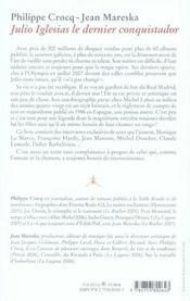 Julio Iglesias, Le Dernier Conquistador - 4ème de couverture - Format classique