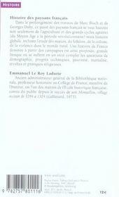 Histoire des paysans français ; de la peste noire à la Révolution - 4ème de couverture - Format classique