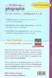 Géographie ; ce qu'il faut savoir ; culture générale ; catégories A et B - 4ème de couverture - Format classique