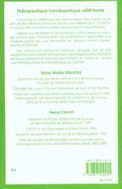 Therapeutique Homeopathique Veterinaire - 4ème de couverture - Format classique