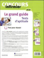 Concours infirmier ; tests d'aptitude (édition 2018) - 4ème de couverture - Format classique