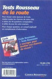 Tests Rousseau De La Route (edition 2007 - 4ème de couverture - Format classique