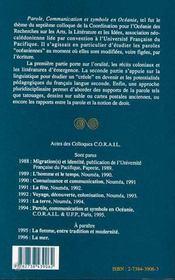 Parole, communication et symbole en Océanie - 4ème de couverture - Format classique