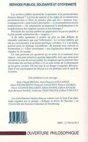 Services Publics, Solidarite Et Citoyennete - 4ème de couverture - Format classique