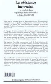 La Resistance Incertaine ; La Ruralite Dans Le Passage De La Modernite A La Postmodernite - 4ème de couverture - Format classique