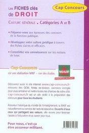 Droit ; ce qu'il faut savoir ; culture générale ; catégories A et B - 4ème de couverture - Format classique