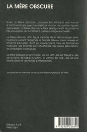 La mere obscure - 4ème de couverture - Format classique