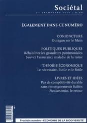 Revue Societal N.68 ; Management De L'Après-Crise Ou Crise De L'Après-Management ? - 4ème de couverture - Format classique