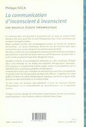 Communication d'inconscient a inconscient (la) - 4ème de couverture - Format classique