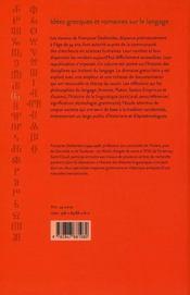 Idées grecques et romaines sur le langage ; travaux d'histoire et d'épistémologie - 4ème de couverture - Format classique