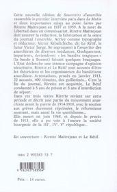 Souvenirs d'anarchie - 4ème de couverture - Format classique