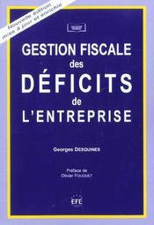 Gestion fiscale des deficits de l'entreprise - Intérieur - Format classique