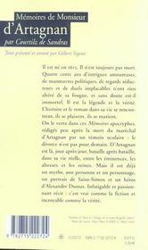 Memoires de monsieur d'artagnan - 4ème de couverture - Format classique