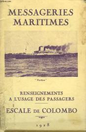 Messageries Maritimes. Renseignements A L'Usage Des Passagers. Escale De Colombo. - Couverture - Format classique