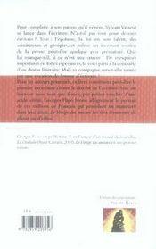 Le vertige des auteurs - 4ème de couverture - Format classique