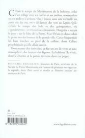 Montmartre des ecrivains - 4ème de couverture - Format classique