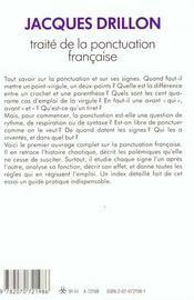 Traite De La Ponctuation Francaise - 4ème de couverture - Format classique