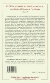 Hygiène mentale et hygiène sociale : contribution à l'histoire de l'hygiénisme t.2 - Couverture - Format classique