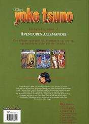Yoko Tsuno ; INTEGRALE VOL.2 ; aventures allemandes - 4ème de couverture - Format classique