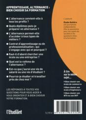 Apprentissage alternance : bien choisir sa formation (12e édition) - 4ème de couverture - Format classique