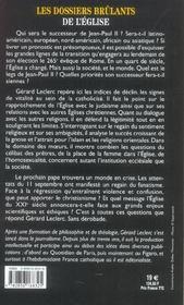 Les dossiers brulants de l'eglise ; au soir de la vie de jean-paul ii - 4ème de couverture - Format classique