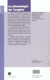 Phonologie de l anglais - 4ème de couverture - Format classique