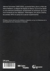 Actualite Critique T.2 ; A Werner Schroeter, Qui N Avait Pas Peur De La Mort - 4ème de couverture - Format classique