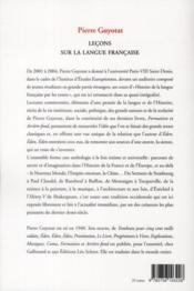 Leçons sur la langue francaise - 4ème de couverture - Format classique