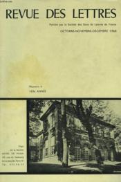 REVUE DES LETTRES PUBLIEE PAR LA SOCIETE DES GENS DE LETTRES, N4. 103e ANNEE. - Couverture - Format classique