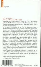 La cite de dieu. t.3. livres xviii a xxii - 4ème de couverture - Format classique