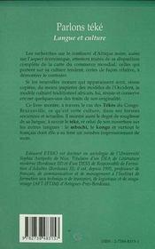 Parlons Teke ; Langue Et Culture - 4ème de couverture - Format classique