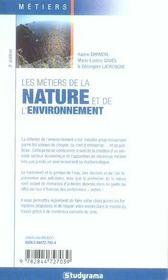 Metiers de la nature de l'environnement 5e edition (5e édition) - 4ème de couverture - Format classique