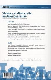 Mots T.85 ; Les Langages Du Politique ; Violence Et Démocratie En Amérique Latine - 4ème de couverture - Format classique