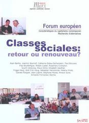 Classes sociales retour ou renouveau ? - Intérieur - Format classique