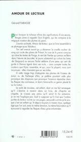 Amour De Lecteur - 4ème de couverture - Format classique