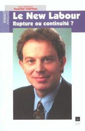 Le new labour rupture ou continuite ? - Intérieur - Format classique