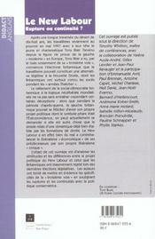 Le new labour rupture ou continuite ? - 4ème de couverture - Format classique