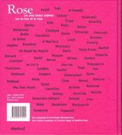 Rose ; les plus beaux poemes sur la rose et le rose - 4ème de couverture - Format classique