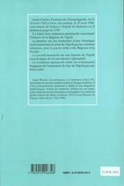 Histoire abrégée de Tripoly de barbarie, 1794 - 4ème de couverture - Format classique